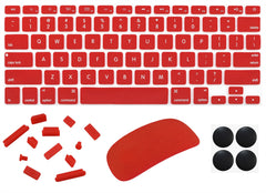 "4 in 1 Lilware Universal Accessory Set for Apple Macbook Air 13"". Set of Waterproof USA Keyboard Cover + Magic Mouse Softskin Protector + Anti Dust Plugs + 4 Pack Replacement Rubber Feet. Red"