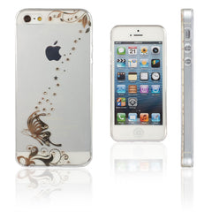 Xcessor Golden Butterfly Glossy Flexible TPU case for Apple iPhone SE / 5 / 5S. Transparent / Golden Color