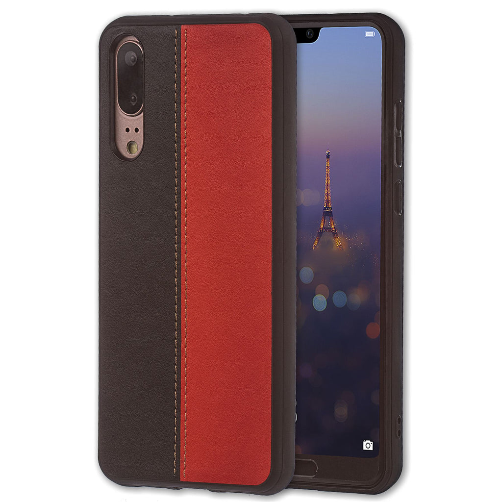 Lilware Bicolor PU Leather Phone Case Compatible with Huawei P20. Red / Black