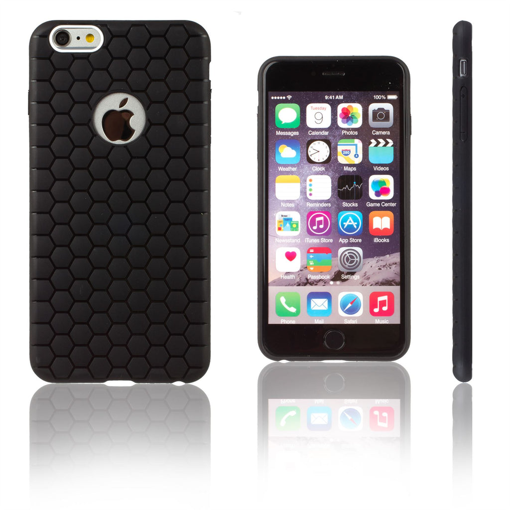 Xcessor Hexagon Texture TPU Gel Hybrid Case for Apple iPhone 6. Black