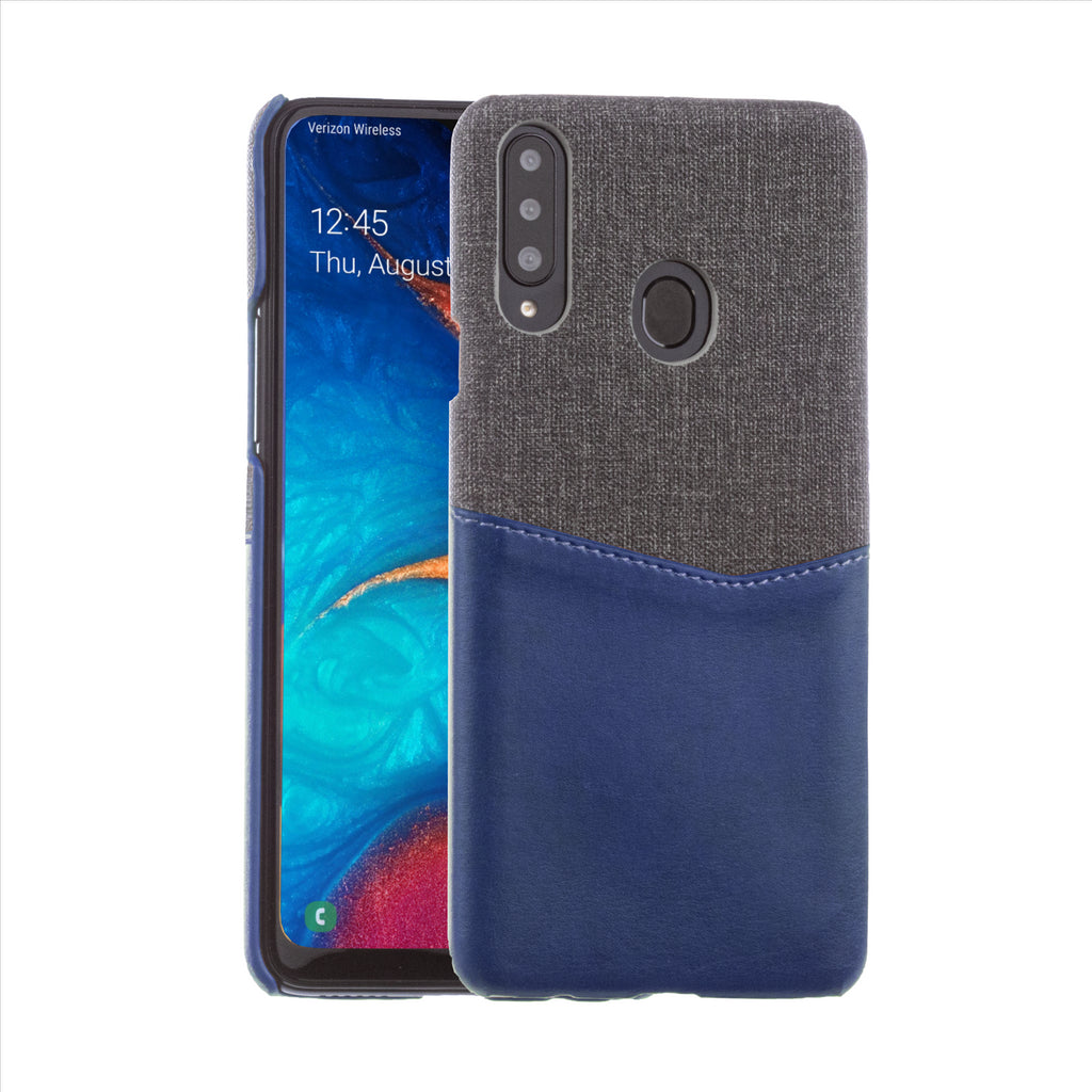 Lilware Card Wallet Plastic Phone Case Compatible with Samsung Galaxy A20S. Fabric Texture and PU Leather Protective Cover with ID / Credit Card Slot Holder. Blue