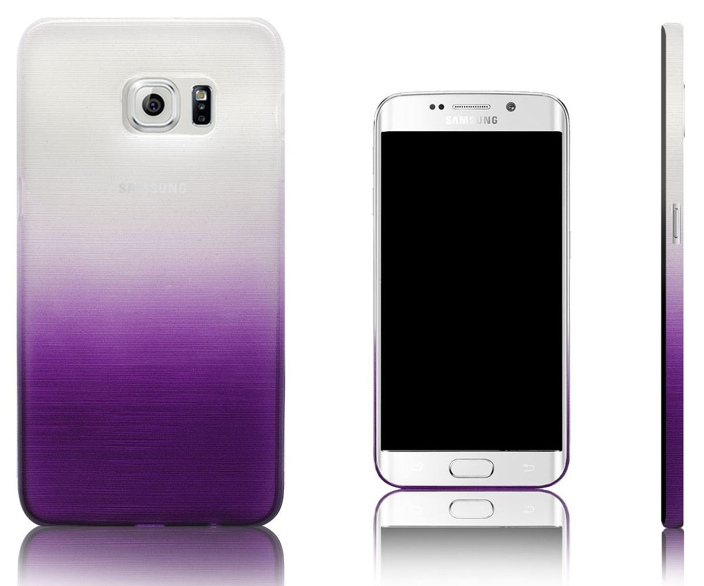 Xcessor Transition Color Flexible TPU Case for Samsung Galaxy S6 edge+ SM-G928A. With Gradient Silk Thread Texture. Transparent / Purple