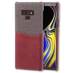 Lilware Card Wallet Plastic Phone Case for Samsung Galaxy Note 9. Fabric Texture and PU Leather Protective Cover with ID / Credit Card Slot Holder. Red