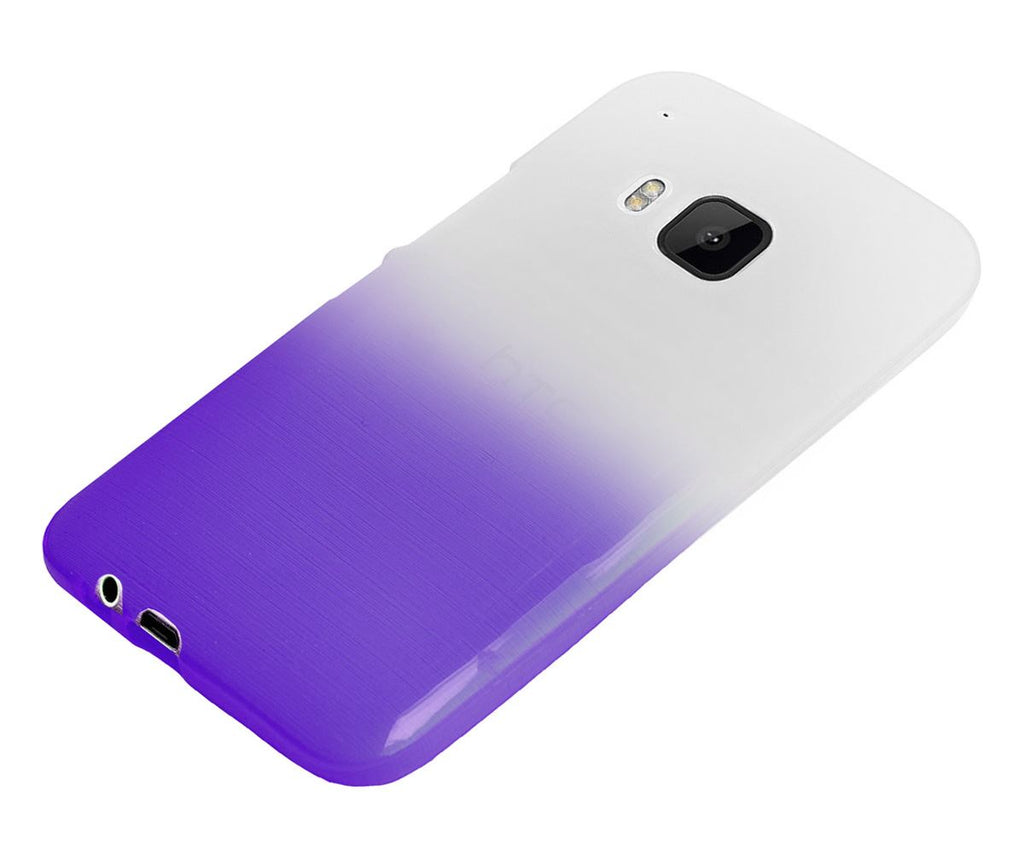 Xcessor Transition Color Flexible TPU Case for HTC One M9 (HTC One Hima). With Gradient Silk Thread Texture. Transparent / Purple