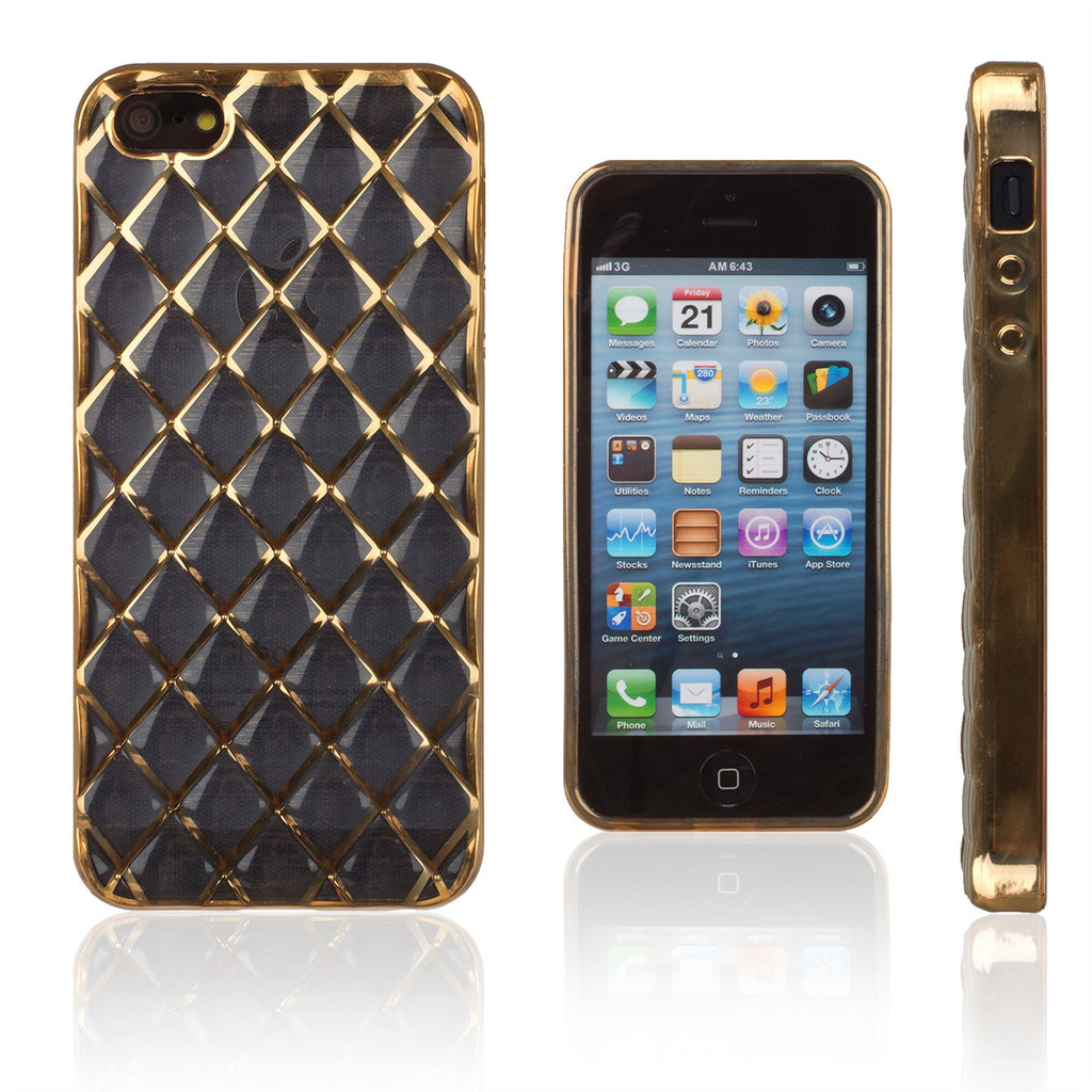 Xcessor Convex Checkered Glossy Flexible TPU case for Apple iPhone SE / 5 / 5S. Transparent / Gold