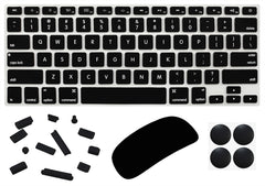 "4 in 1 Lilware Universal Accessory Set for Apple Macbook Air 13"". Set of Waterproof USA Keyboard Cover + Magic Mouse Softskin Protector + Anti Dust Plugs + 4 Pack Replacement Rubber Feet. Black"