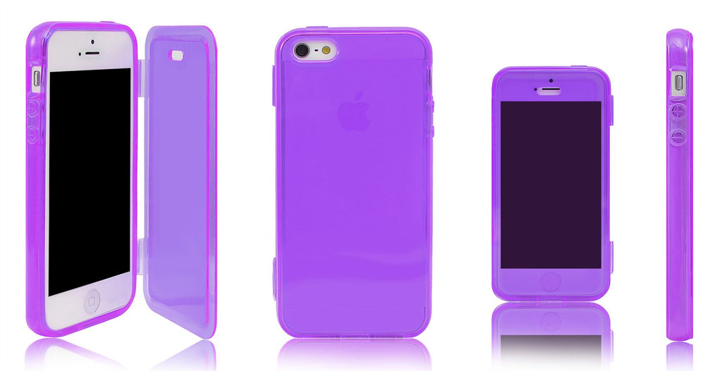 Xcessor Flip Open TPU Gel Case For Apple iPhone 5 and 5S. Back and Front Protection. Purple / Transparent