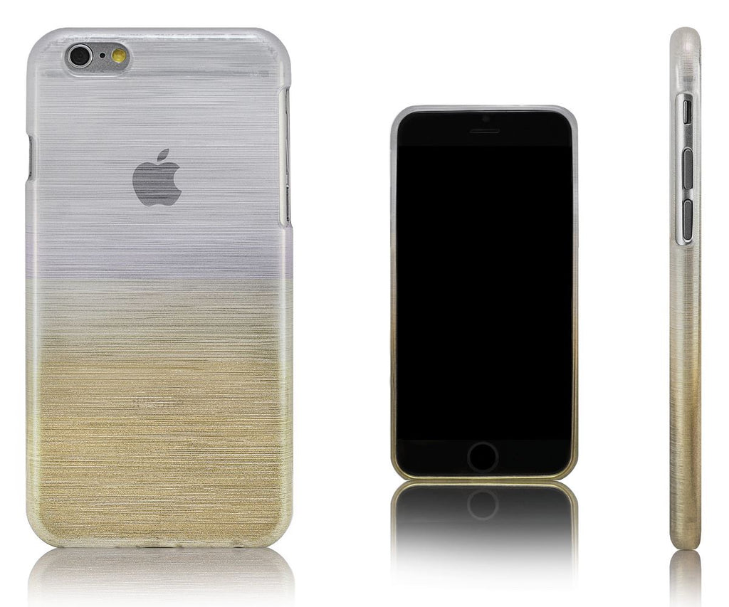 Xcessor Transition Color Flexible TPU Case for Apple iPhone 6. With Gradient Silk Thread Texture.Transparent / Gold