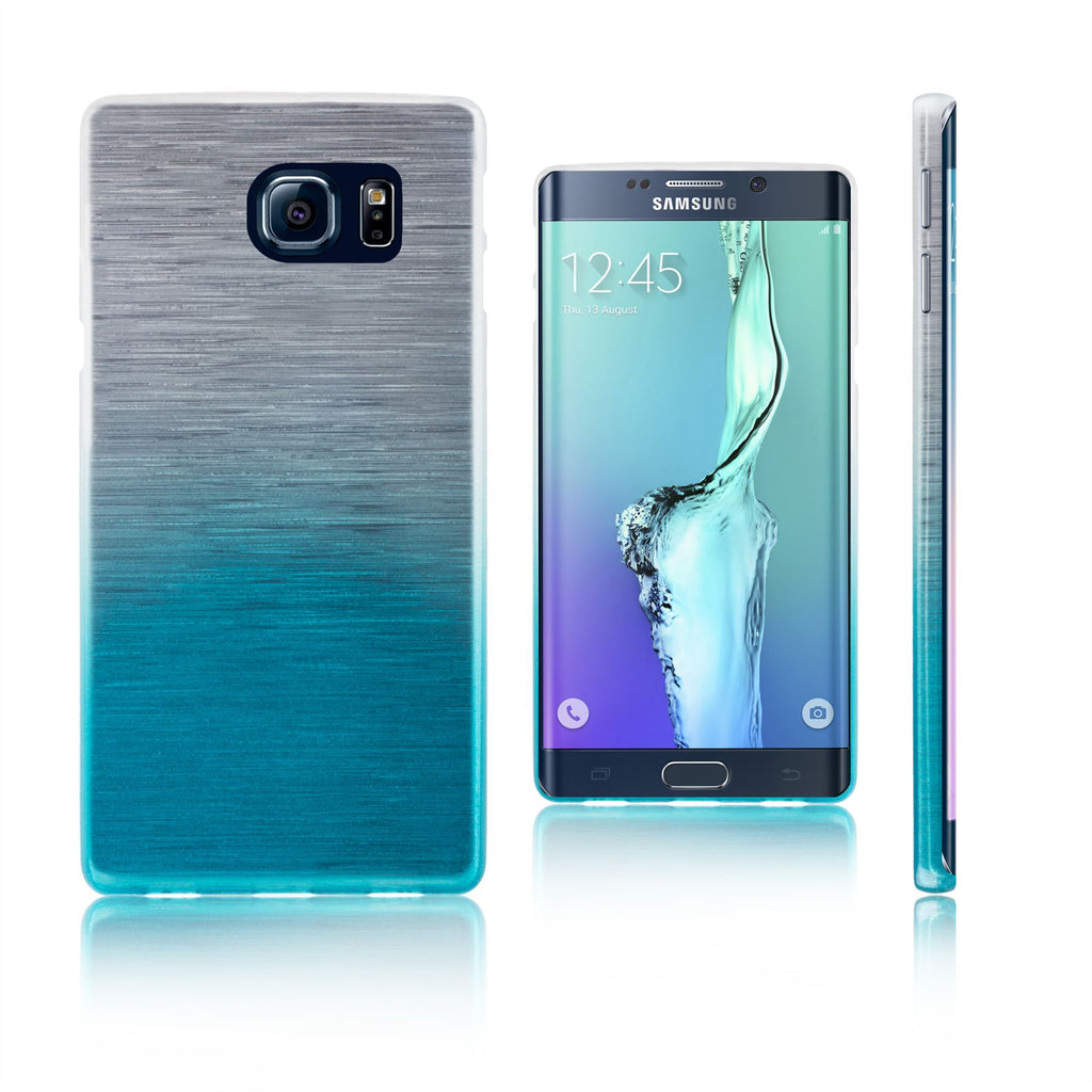 Xcessor Transition Color Flexible TPU Case for Samsung Galaxy S6 edge+ SM-G928A. With Gradient Silk Thread Texture. Transparent / Light Blue