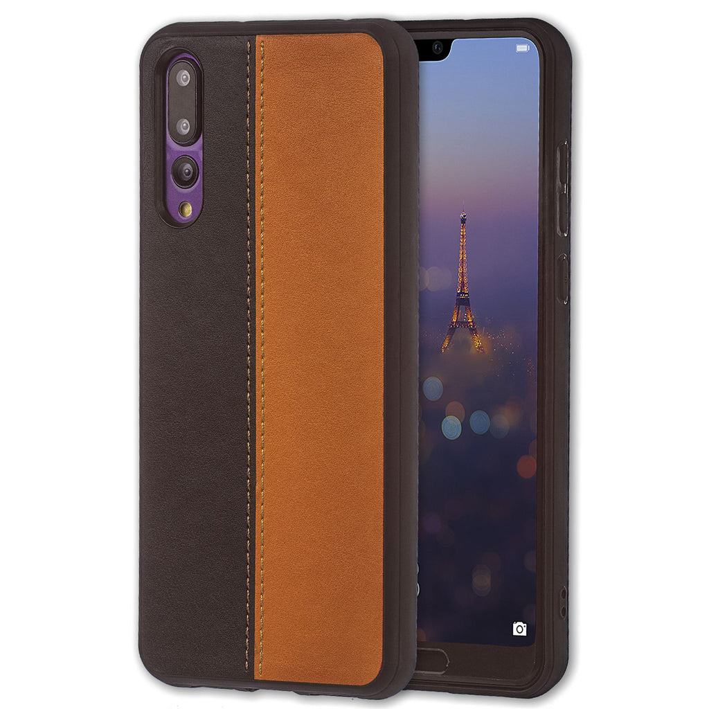 Lilware Bicolor PU Leather Phone Case Compatible with Huawei P20 Pro. Brown / Black