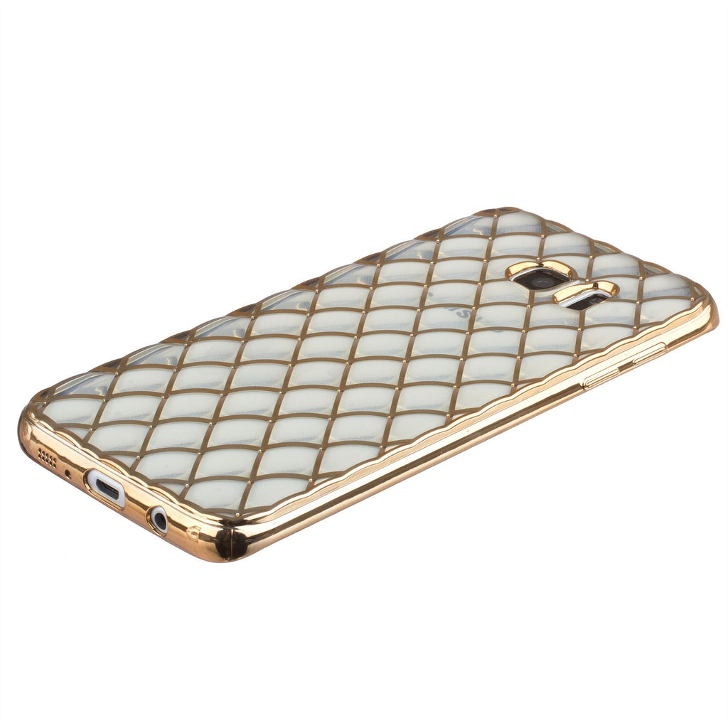 Xcessor Convex Checkered Glossy Flexible TPU case for Samsung Galaxy S7 Edge SM-G935. Transparent / Golden Color