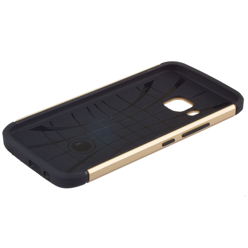 Lilware Angular Armor Hard Plastic Case for HTC One M9 (HTC One Hima). Rugged Dual Layer Protective Cover. Black / Golden Color