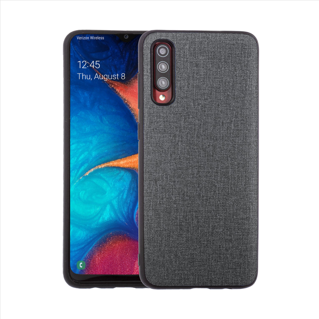 Lilware Canvas Rubberized Texture Plastic Phone Case for Samsung Galaxy A70/A70S. Dark Grey