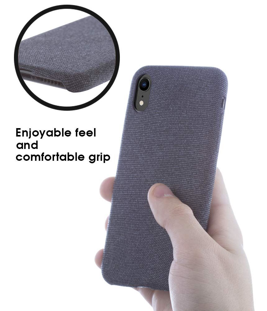 Lilware Soft Fabric Texture Plastic Phone Case for Apple iPhone XR - Navy