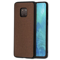 Lilware Canvas Rubberized Texture Plastic Phone Case Compatible with Huawei Mate 20 Pro. Brown