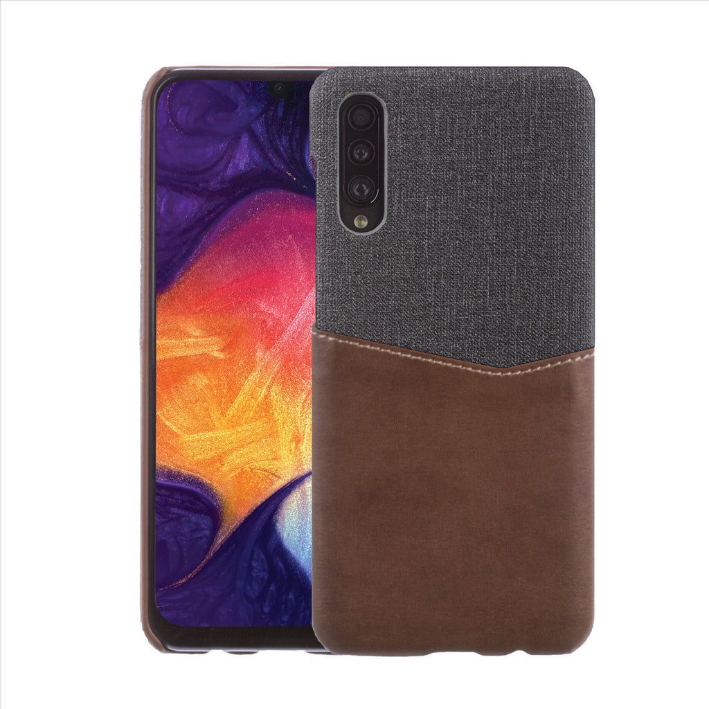 Lilware Card Wallet Plastic Phone Case Compatible with Samsung Galaxy A50/A50S. Fabric Texture and PU Leather Protective Cover with ID / Credit Card Slot Holder. Brown