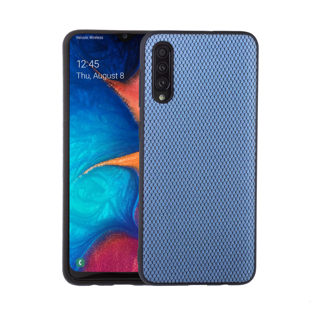 Lilware Canvas X Fabric Texture Plastic Phone Case for Samsung Galaxy A50/A50S. Blue