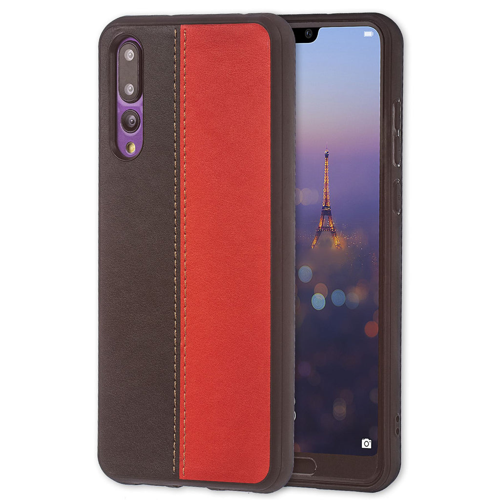 Lilware Bicolor PU Leather Phone Case Compatible with Huawei P20 Pro. Red / Black