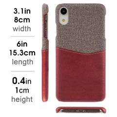 Lilware Card Wallet Plastic Phone Case for Apple iPhone XR. Fabric Texture and PU Leather Protective Cover with ID / Credit Card Slot Holder. Red