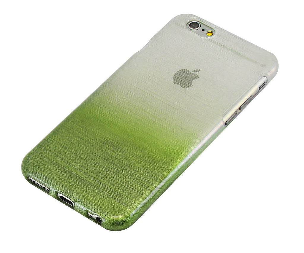 Xcessor Transition Color Flexible TPU Case for Apple iPhone 6. With Gradient Silk Thread Texture. Transparent / Green