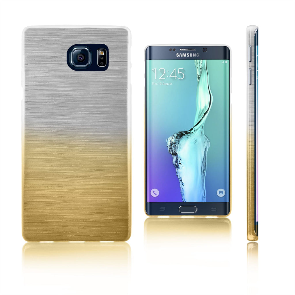 Xcessor Transition Color Flexible TPU Case for Samsung Galaxy S6 edge+ SM-G928A. With Gradient Silk Thread Texture. Transparent / Gold