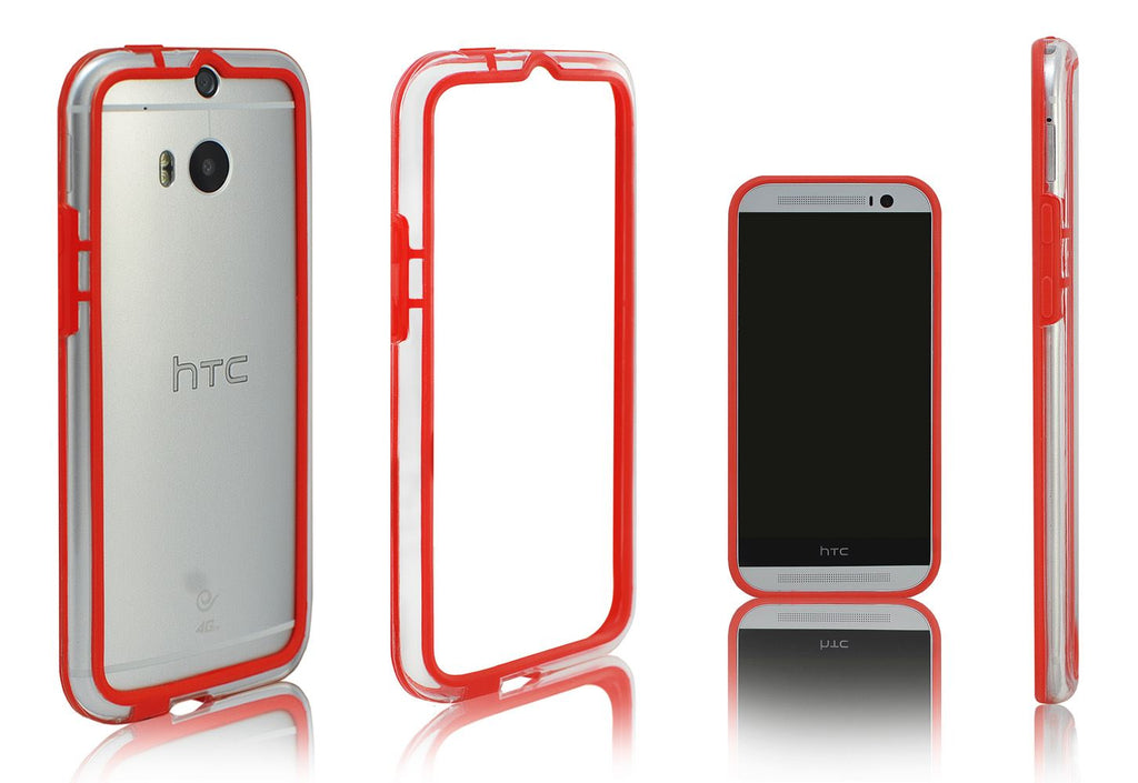 Xcessor Classic Bumper Case for HTC One M8. Rubber & Plastic. Red / Transparent