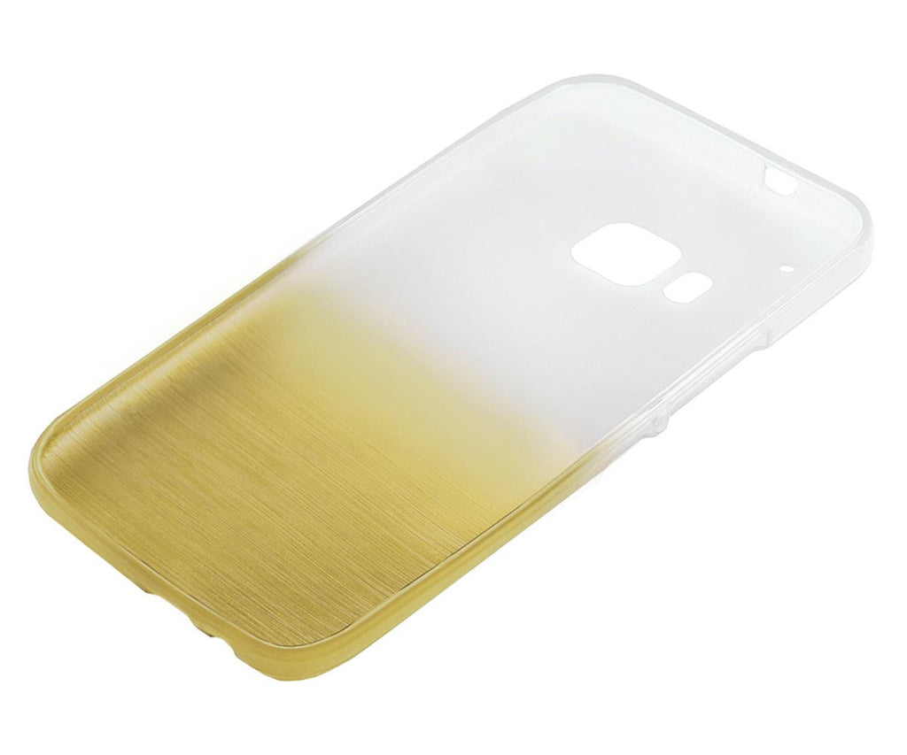 Xcessor Transition Color Flexible TPU Case for HTC One M9 (HTC One Hima). With Gradient Silk Thread Texture. Transparent / Gold