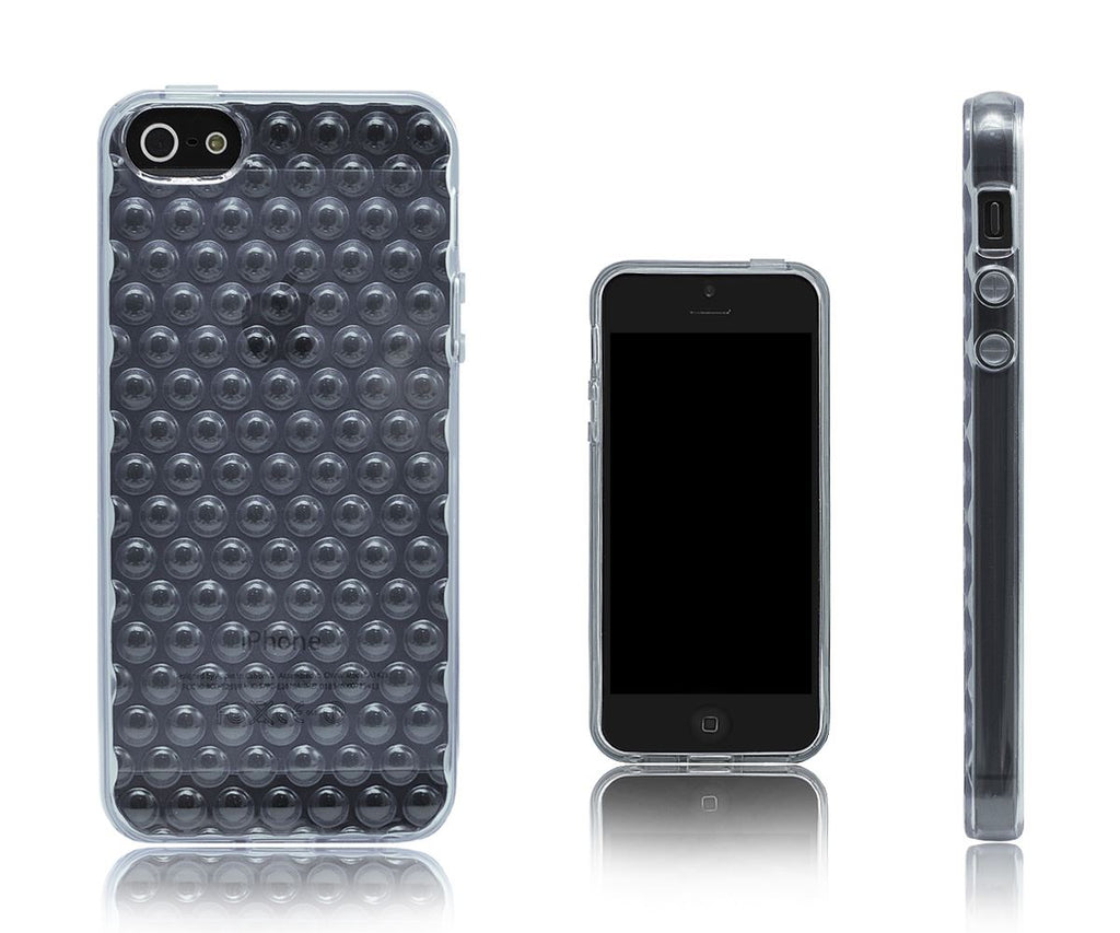 Xcessor Bubbles Flexible TPU Case for Apple iPhone 5/5S - Grey/Transparent