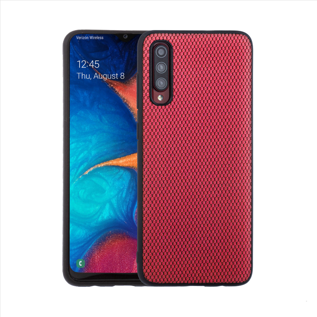 Lilware Canvas X Fabric Texture Plastic Phone Case for Samsung Galaxy A70/A70S. Red