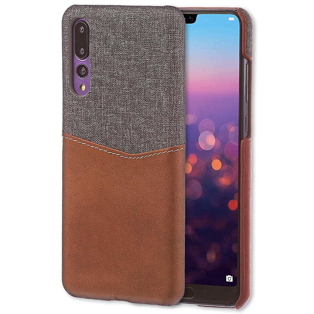 Lilware Card Wallet Plastic Phone Case Compatible with Huawei P20 Pro. Fabric Texture and PU Leather Protective Cover with ID / Credit Card Slot Holder. Brown
