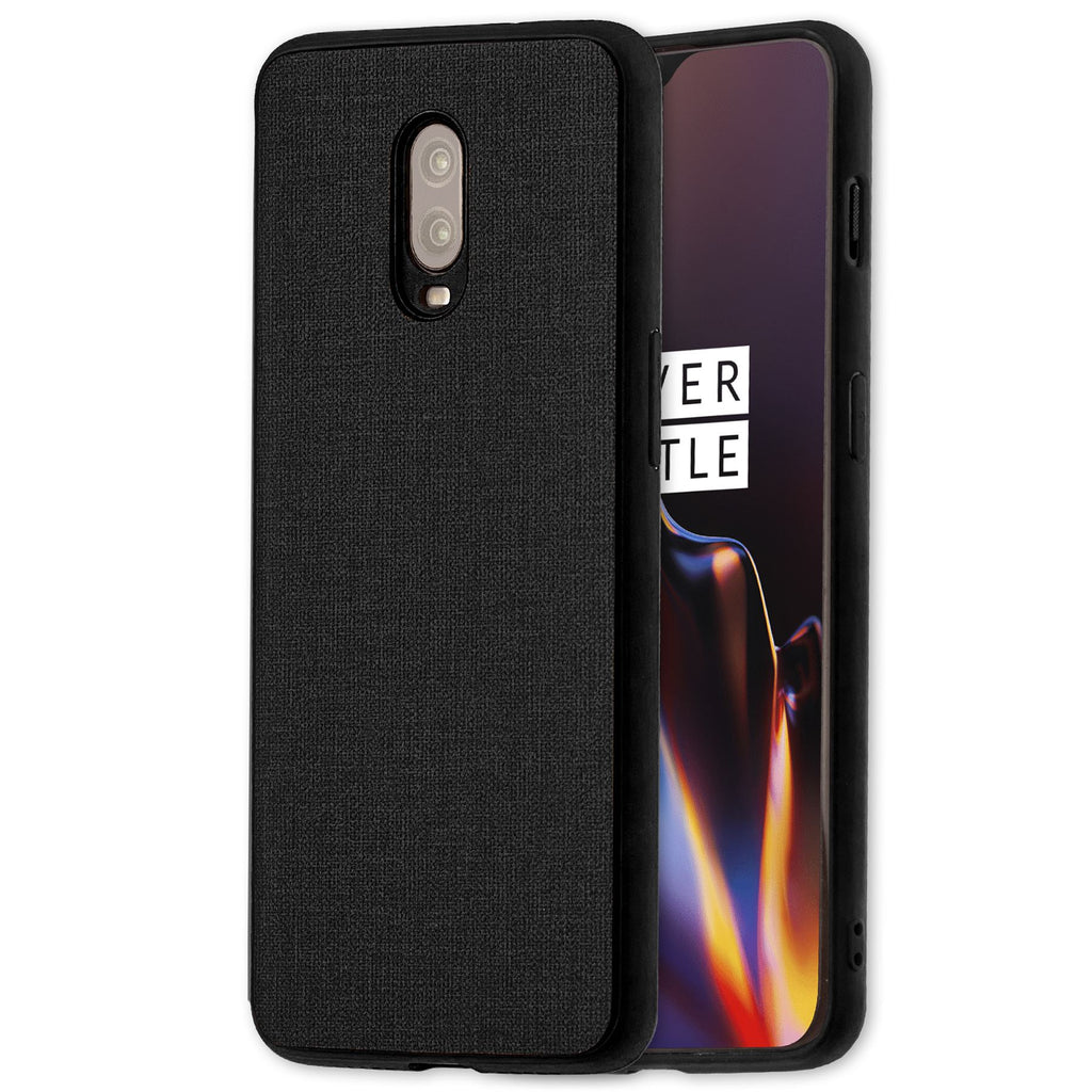 Lilware Canvas Rubberized Texture Plastic Phone Case for OnePlus 6T. Black