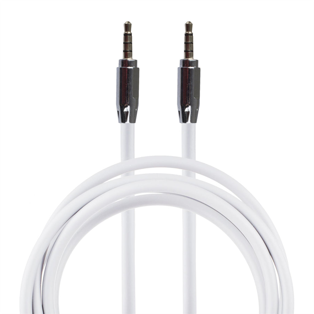 Lilware Rubberized 35In (90 cm) Aux Audio Cable 3.5mm Jack Male to Male Cord For Multimedia Devices - White