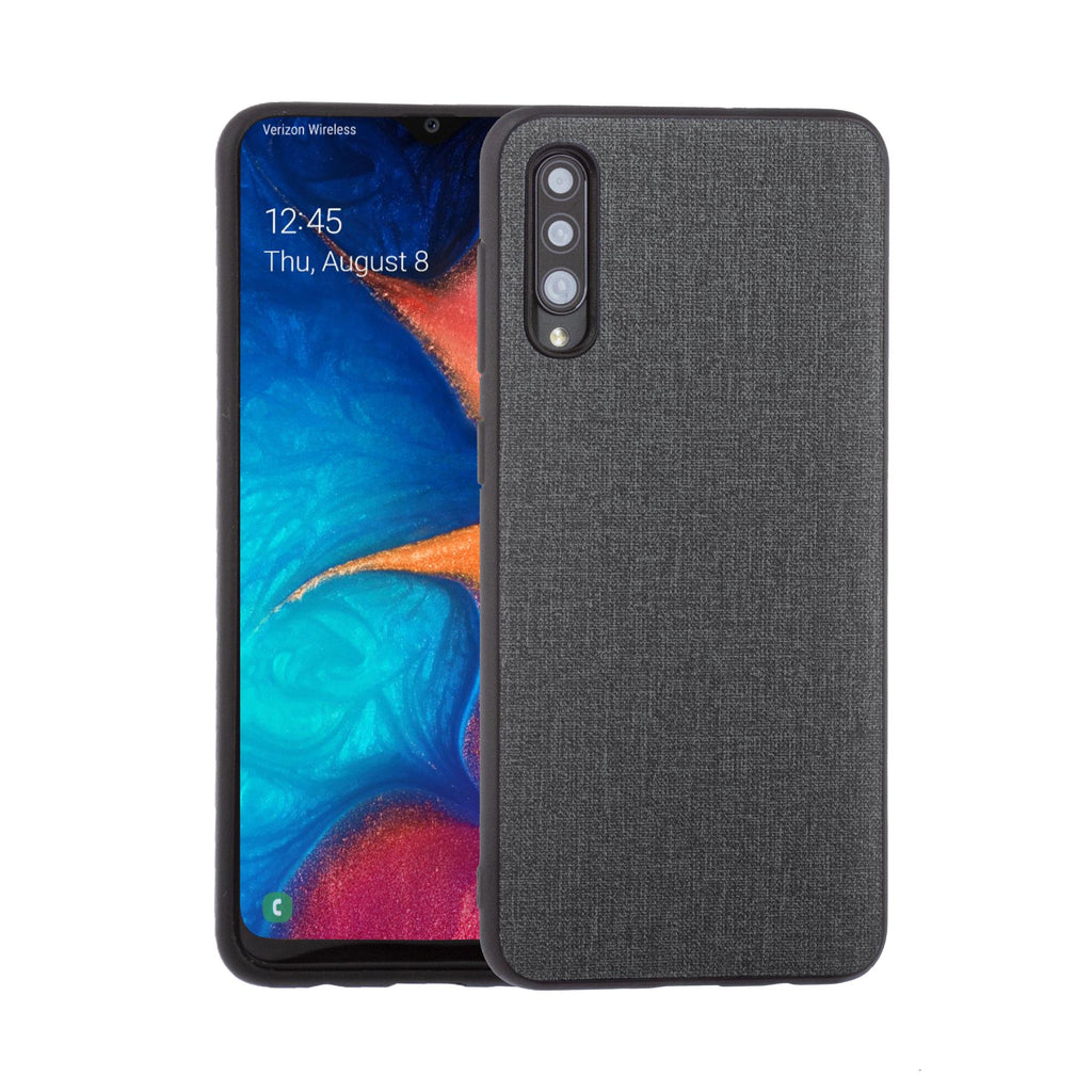 Lilware Canvas Rubberized Texture Plastic Phone Case for Samsung Galaxy A50/A50S. Dark Grey