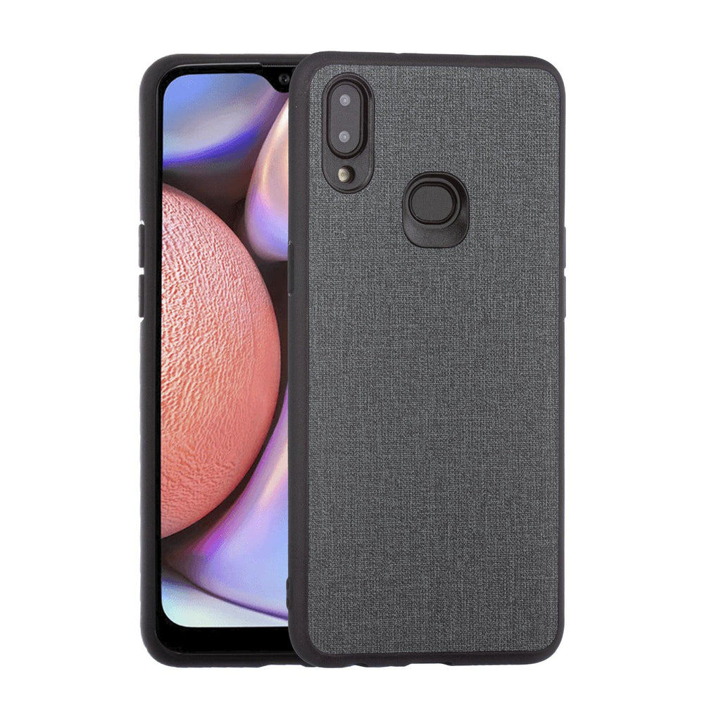 Lilware Canvas Rubberized Texture Plastic Phone Case for Samsung Galaxy A10S. Dark Grey