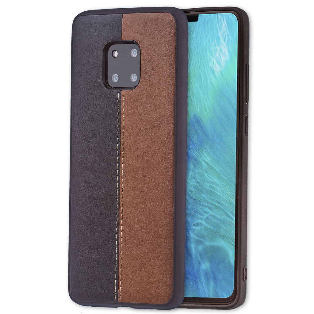 Lilware Bicolor PU Leather Phone Case Compatible with Huawei Mate 20 Pro. Brown / Black