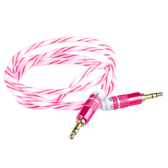 Lilware Braided Woven Fabric Transparent PVC Jacket 0.9M Aux Audio Cable 3.5mm Jack Male to Male Cord For Multimedia Devices - Red