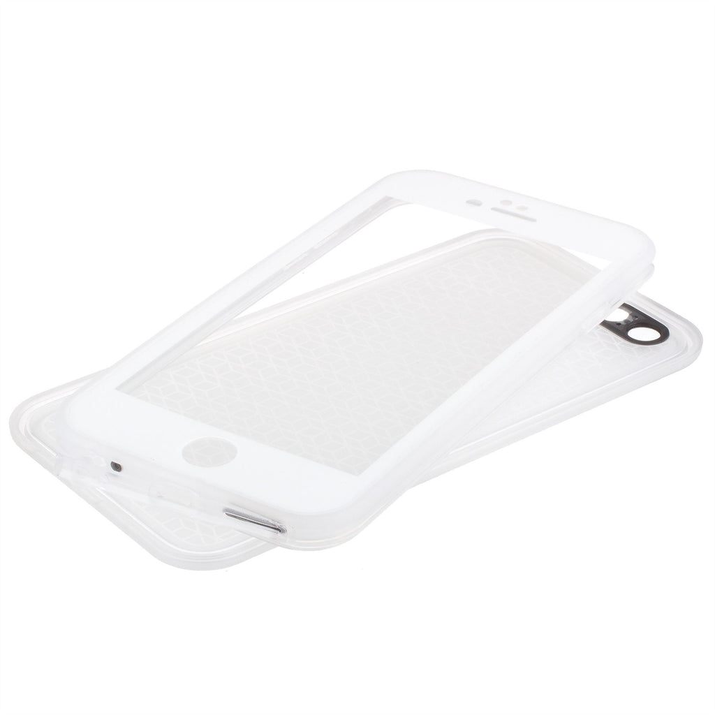 Xcessor Two Part Flip Open Flexible TPU Case for Apple iPhone 6 Plus and 6S Plus. Back and Front Protection. Transparent / White