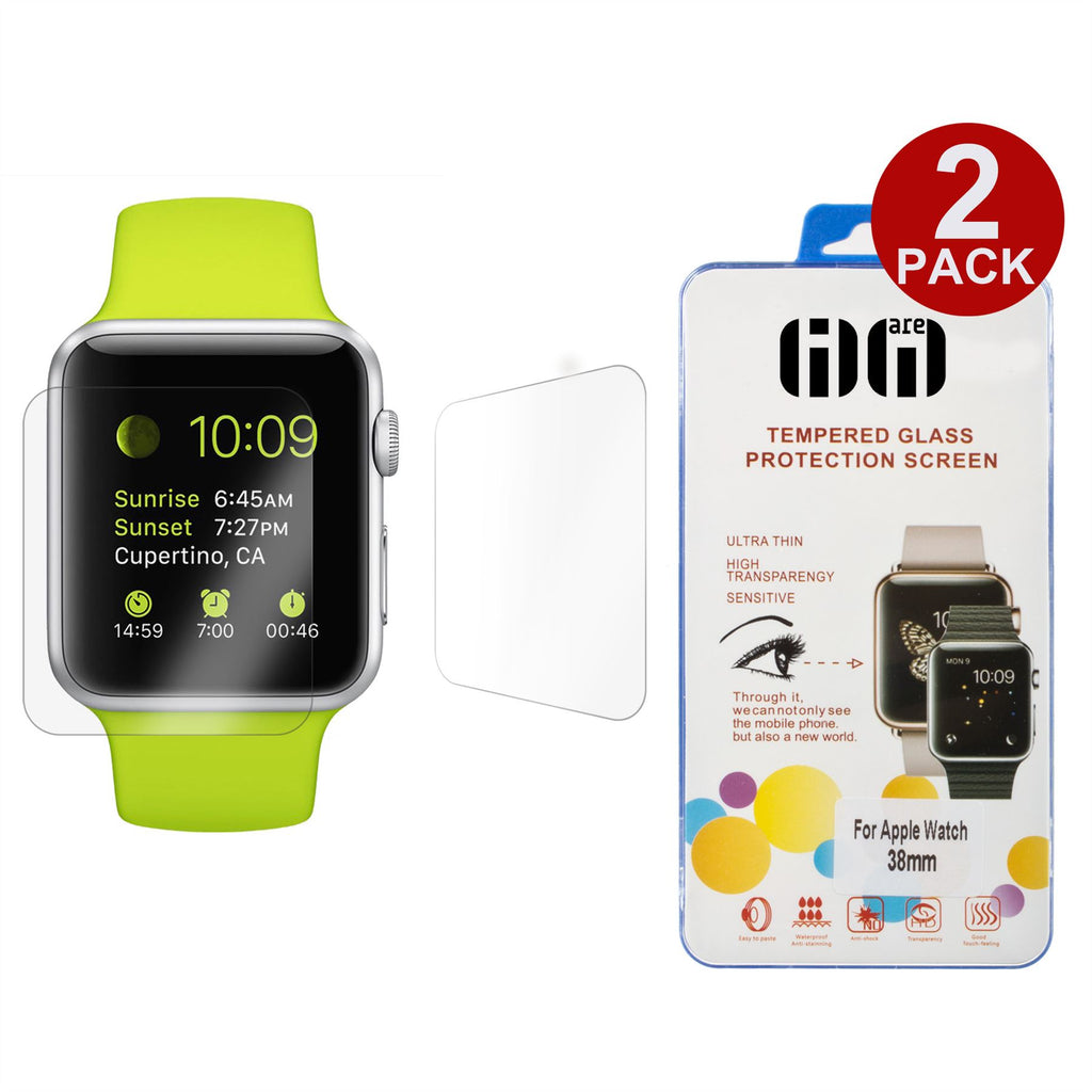 2 x Lilware Tempered Glass Screen Protector for Apple Watch 38 mm. Two Glass Protectors Included. Extremely Durable and Anti-Scratch Front Screen Protector. Transparent