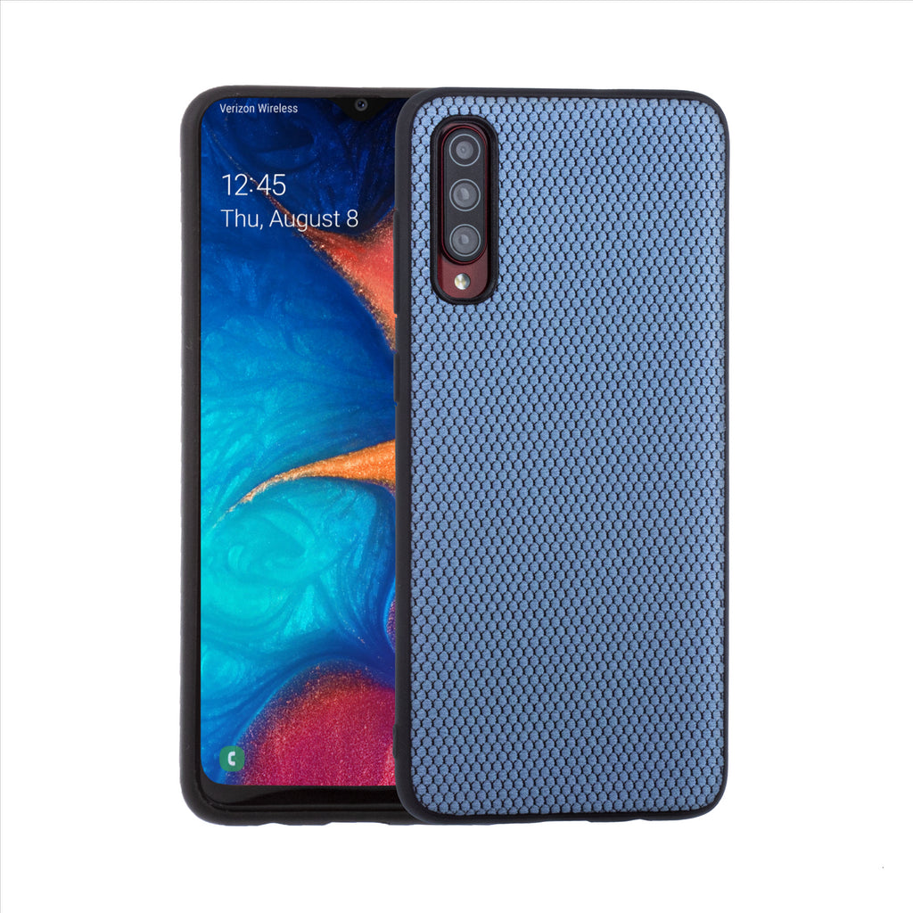 Lilware Canvas X Fabric Texture Plastic Phone Case for Samsung Galaxy A70/A70S. Blue