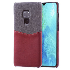 Lilware Card Wallet Plastic Phone Case Compatible with Huawei Mate 20. Fabric Texture and PU Leather Protective Cover with ID / Credit Card Slot Holder. Red
