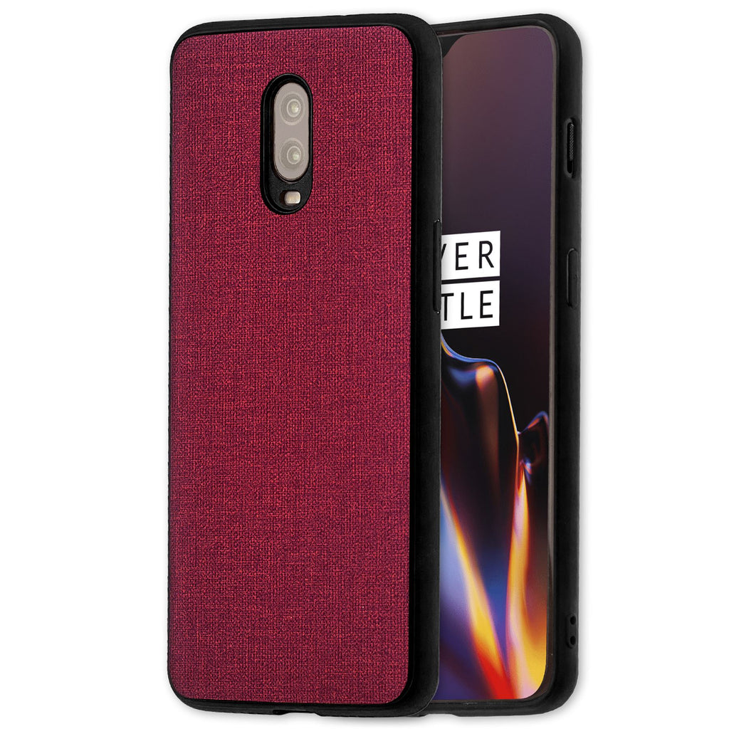 Lilware Canvas Rubberized Texture Plastic Phone Case for OnePlus 6T. Red