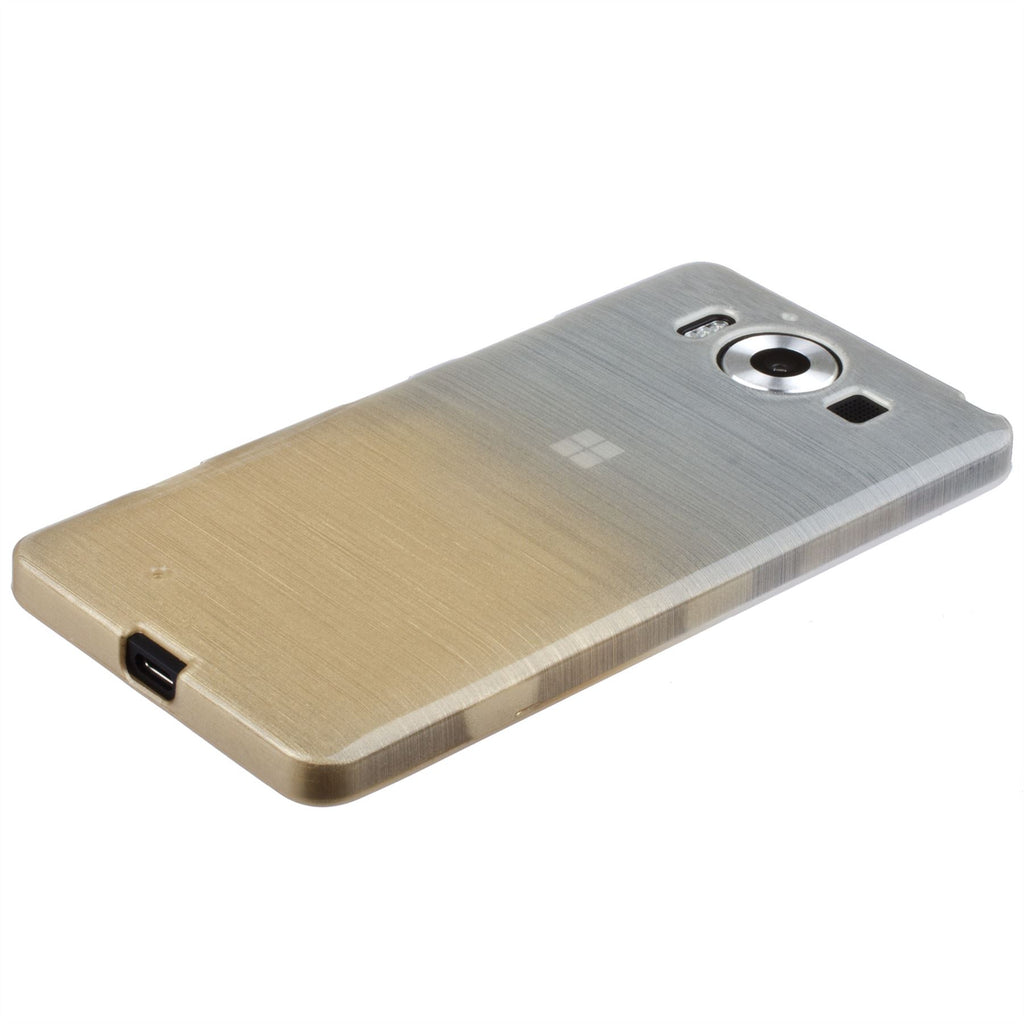 Xcessor Transition Color Flexible TPU Case for Microsoft Lumia 950. With Gradient Silk Thread Texture. Transparent / Gold
