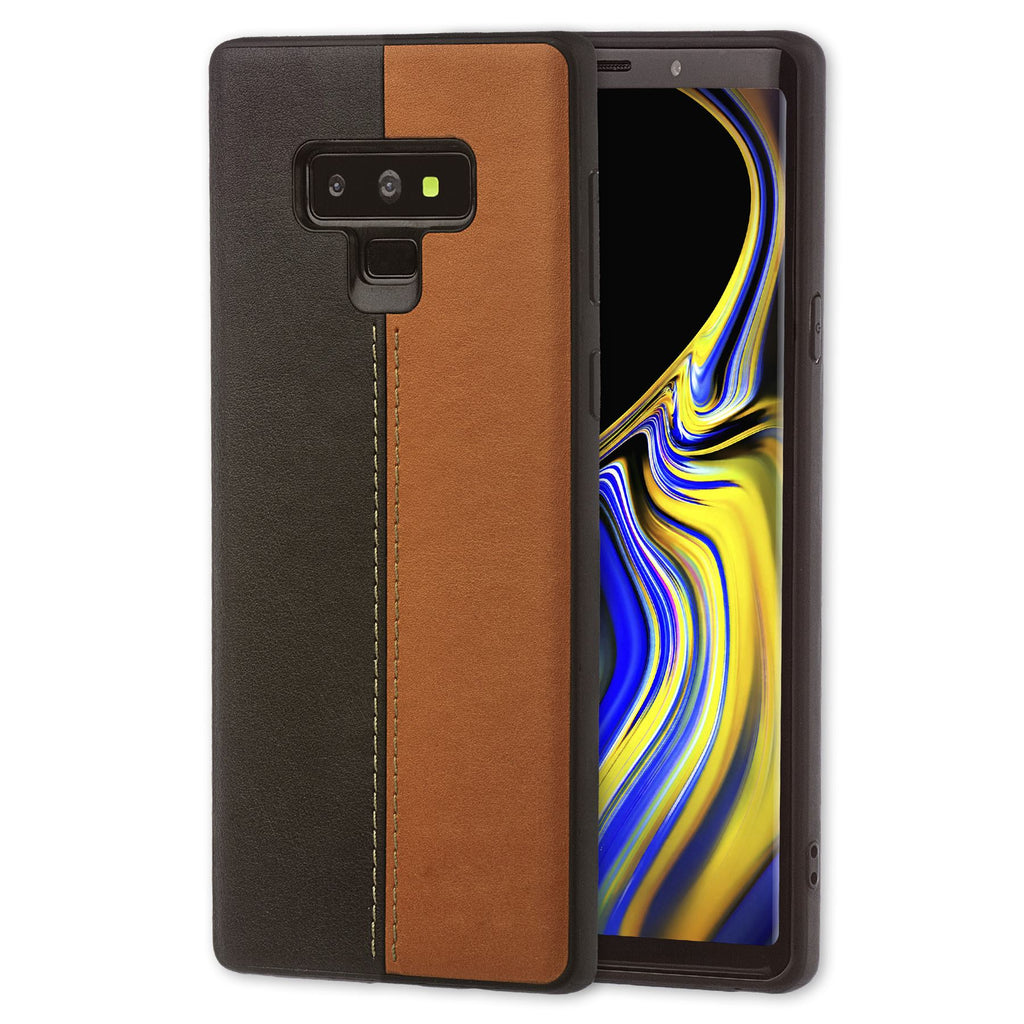 Lilware Bicolor PU Leather Phone Case for Samsung Galaxy Note 9. Brown / Black