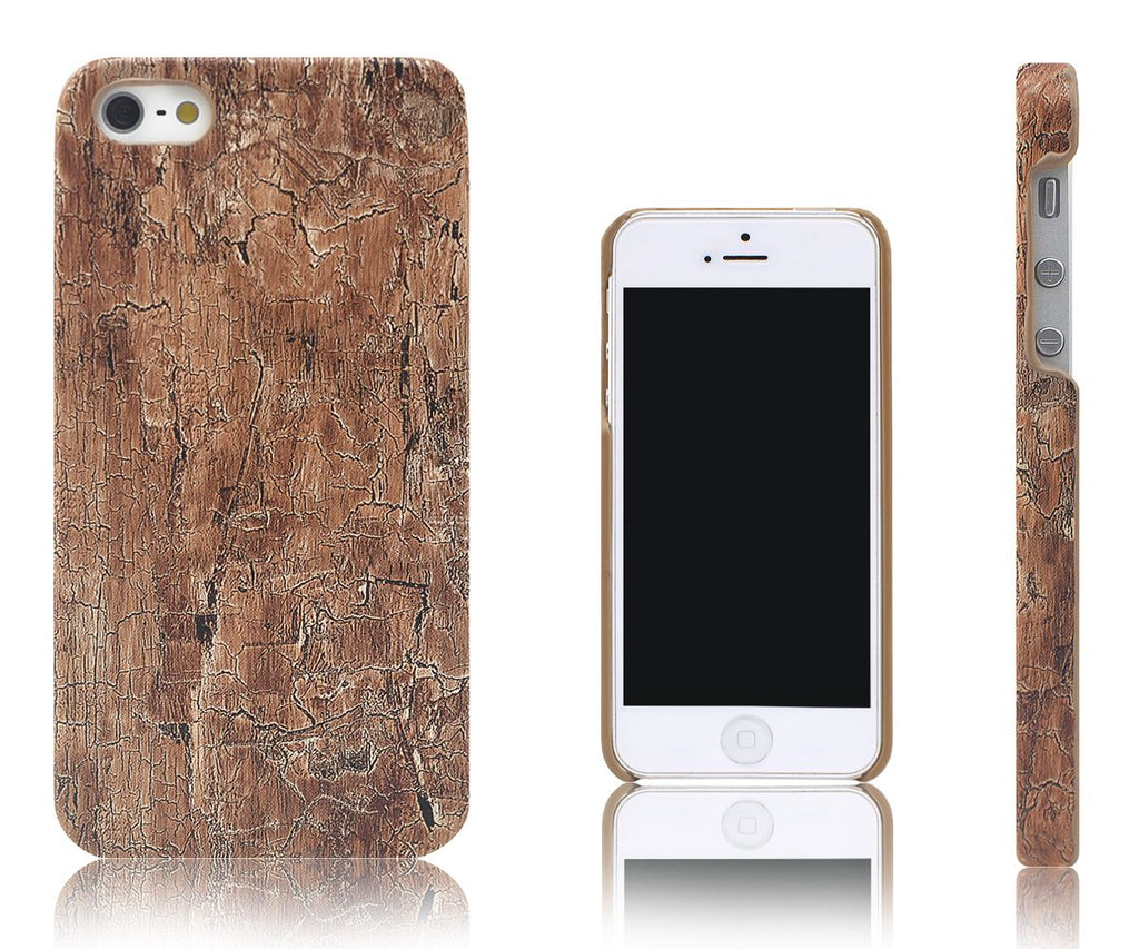 Xcessor Wood Texture Hard Plastic Case for Apple iPhone 5 and 5S. Brown / Mahogany