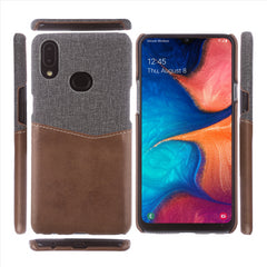 Lilware Card Wallet Plastic Phone Case Compatible with Samsung Galaxy A10S. Fabric Texture and PU Leather Protective Cover with ID / Credit Card Slot Holder. Brown