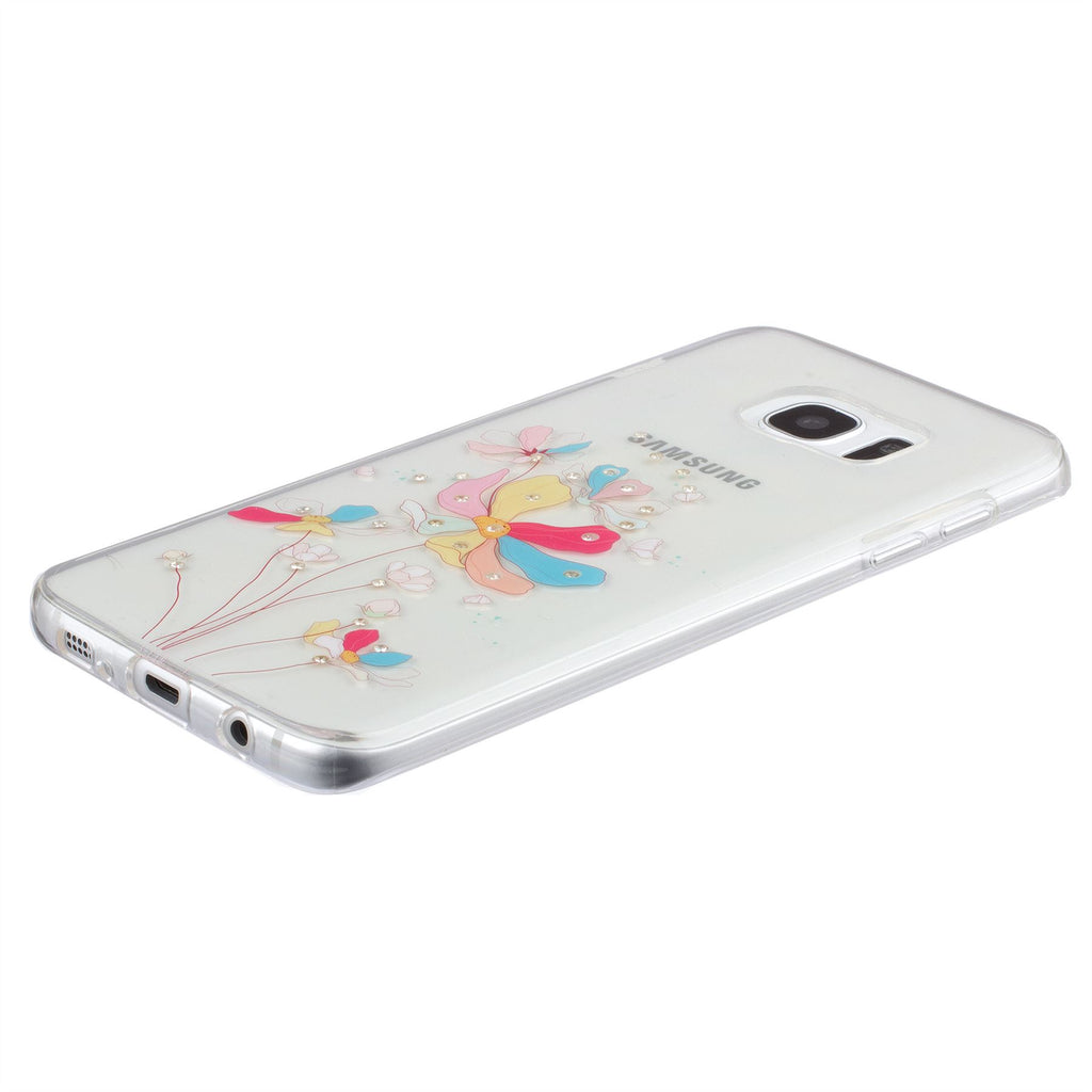 Xcessor Artistic Flower Glossy Flexible TPU case for Samsung Galaxy S7 Edge SM-G935. Transparent / Multicolored