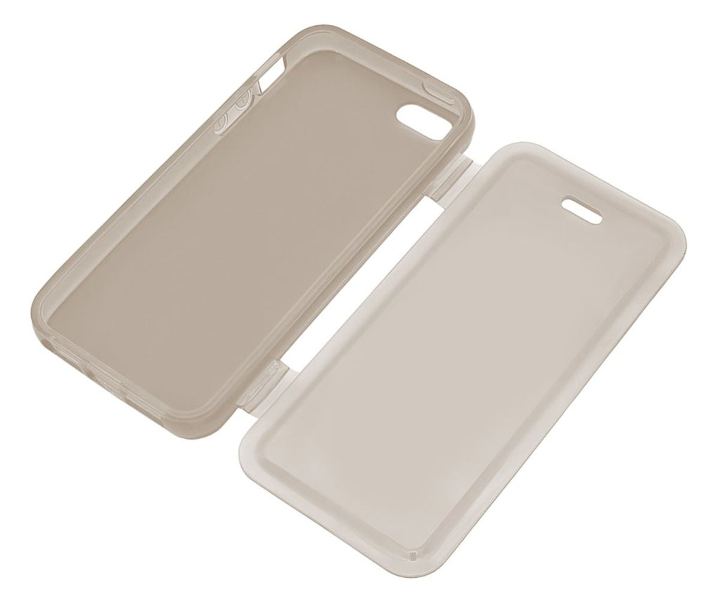 Xcessor Flip Open TPU Gel Case For Apple iPhone 5 and 5S. Back and Front Protection. Grey / Transparent