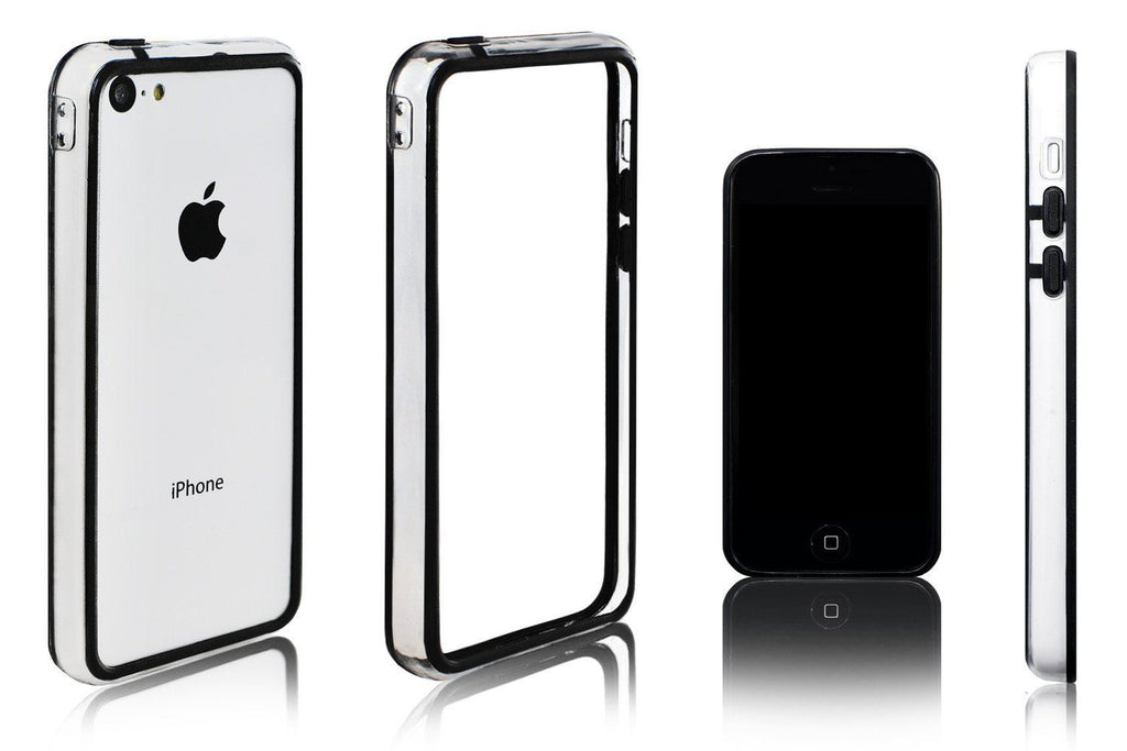 Xcessor Classic Bumper Case For Apple iPhone 5C. Rubber & Plastic. Black / Transparent