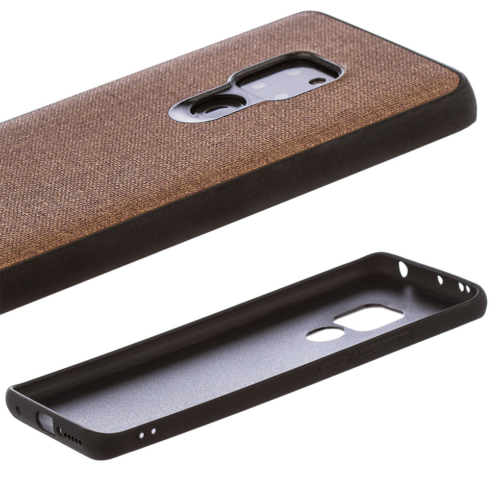 Lilware Canvas Rubberized Texture Plastic Phone Case Compatible with Huawei Mate 20. Brown