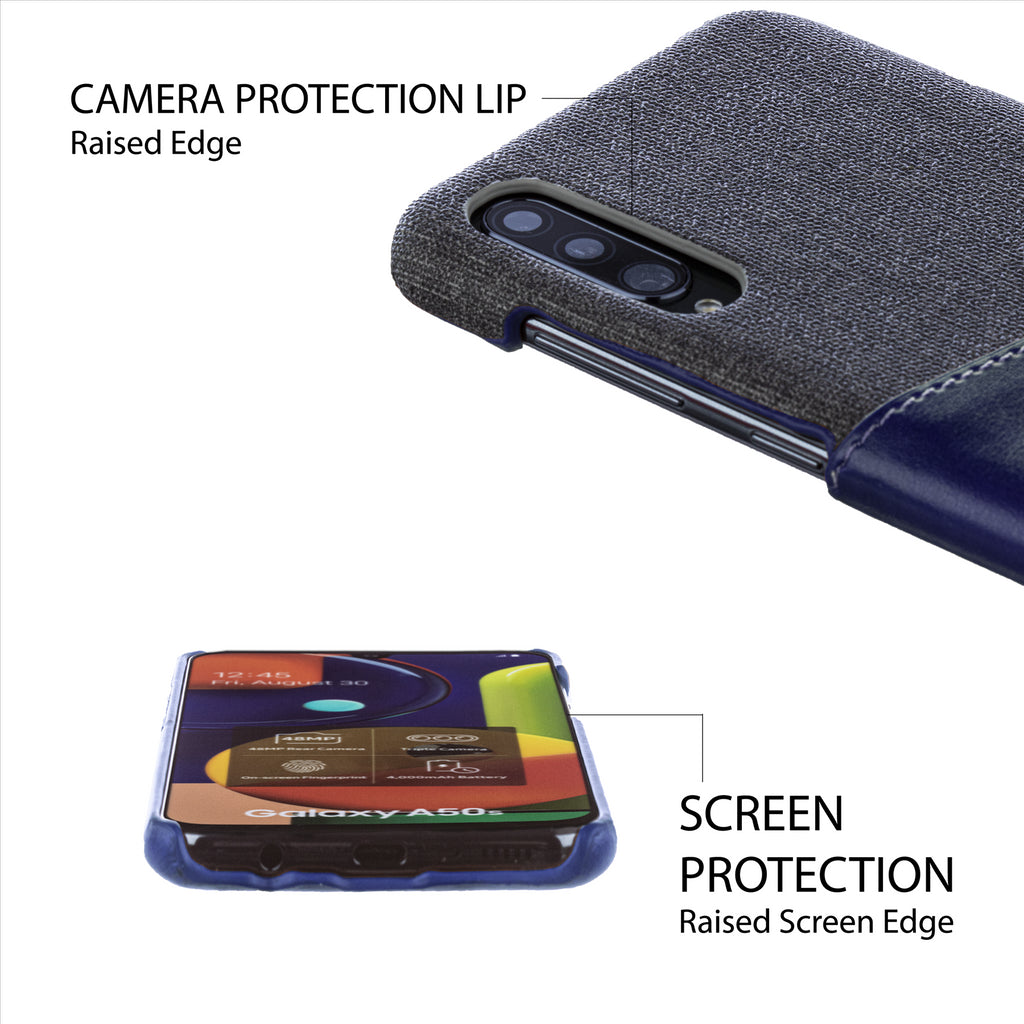 Lilware Card Wallet Plastic Phone Case Compatible with Samsung Galaxy A50/A50S. Fabric Texture and PU Leather Protective Cover with ID / Credit Card Slot Holder. Blue